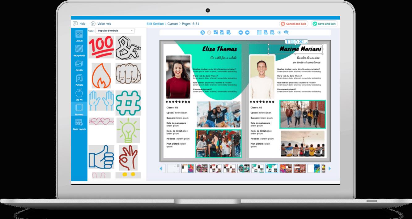 créer yearbook en ligne pages eleves