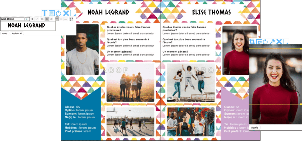 exemples de pages élèves yearbook design