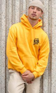 pull etudiant jaune impression logo