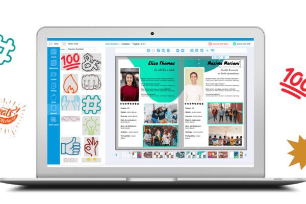 yearbook design elements application en ligne