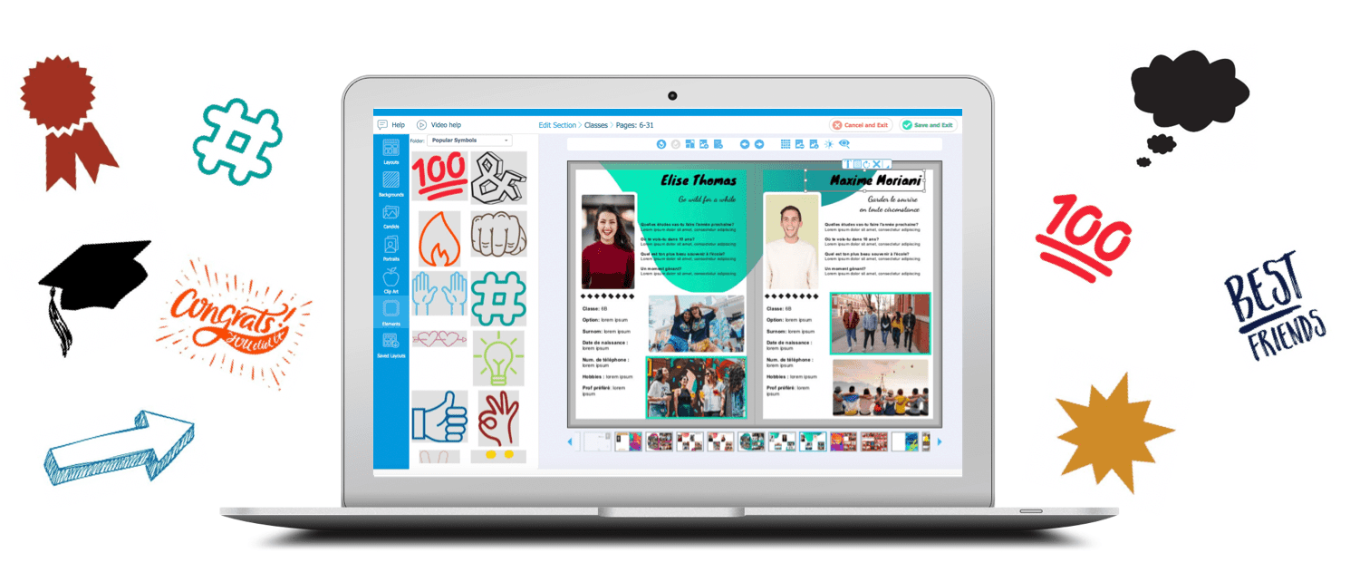 yearbook design elements application en ligne