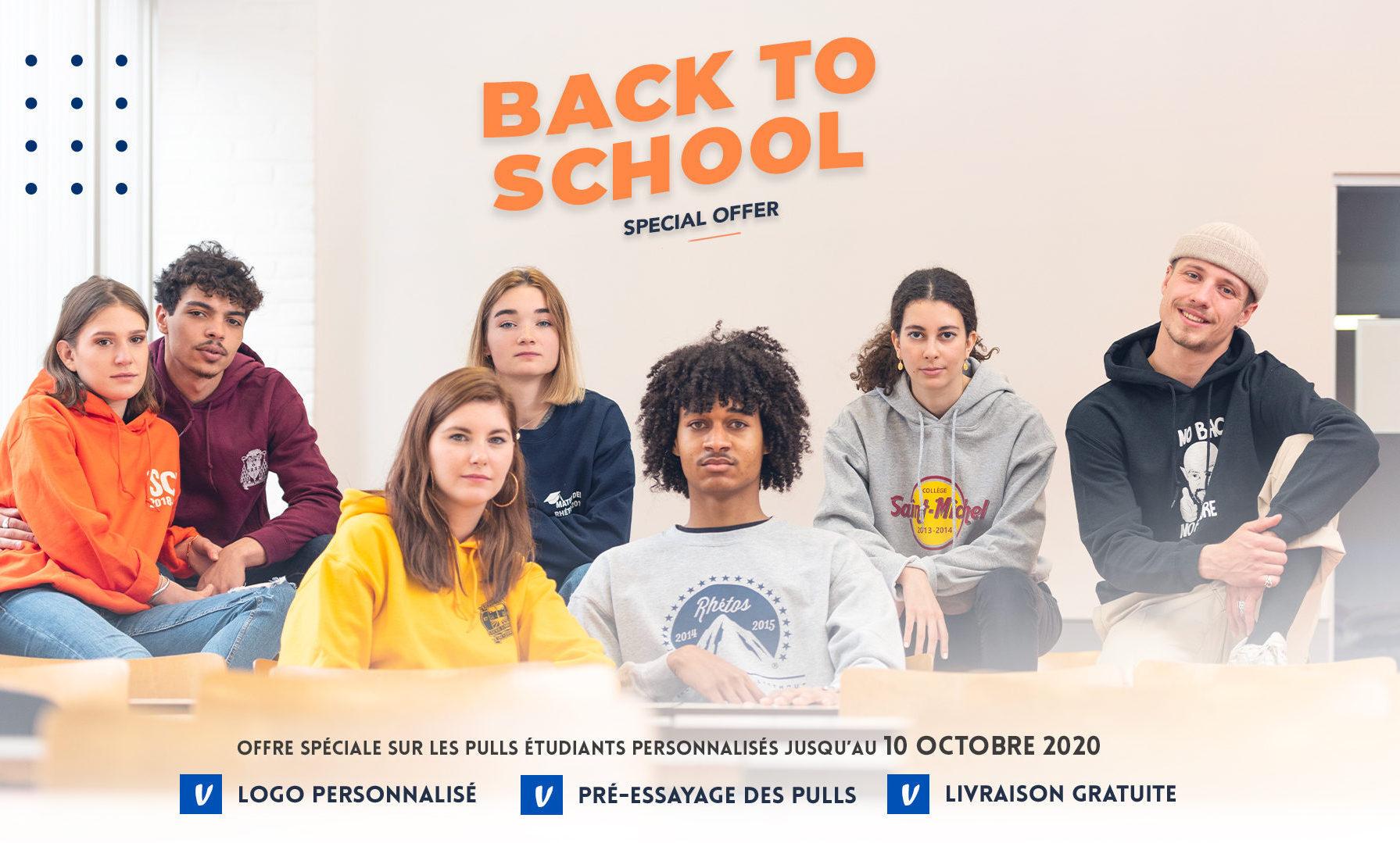 Back to school pulls étudiants personnalisés